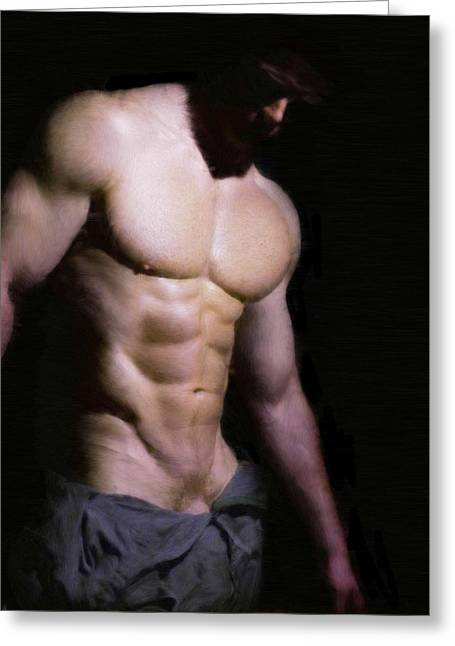Bare Chested Greeting Cards - Chest in the Dark Greeting Card by Troy Caperton