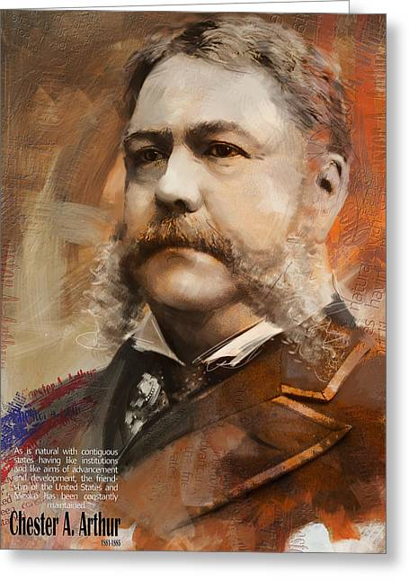 Garfield Greeting Cards - Chester A. Arthur Greeting Card by Corporate Art Task Force