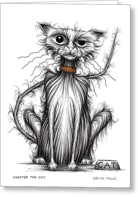 Thin Drawings Greeting Cards - Chester the cat Greeting Card by Keith Mills