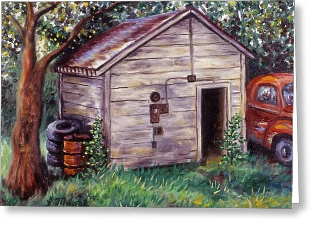 Shed Paintings Greeting Cards - Chesters Treasures Greeting Card by Linda Mears