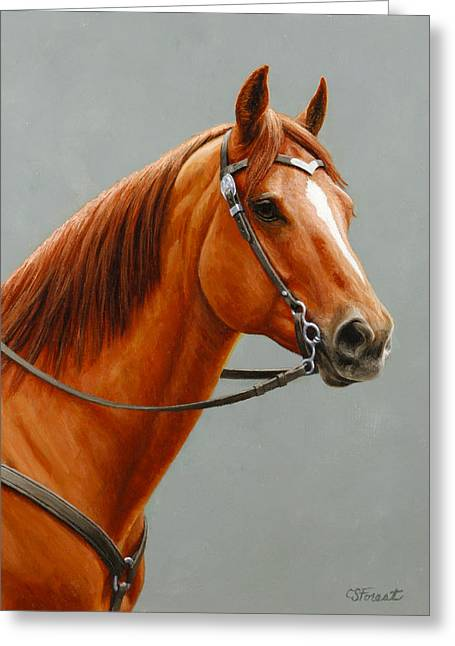 Western Western Art Greeting Cards - Chestnut Dun Horse Painting Greeting Card by Crista Forest