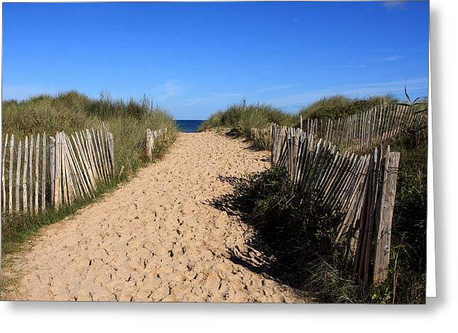 Footprints In The Sand Greeting Cards - Chestnut Fence To The Beach Greeting Card by Aidan Moran