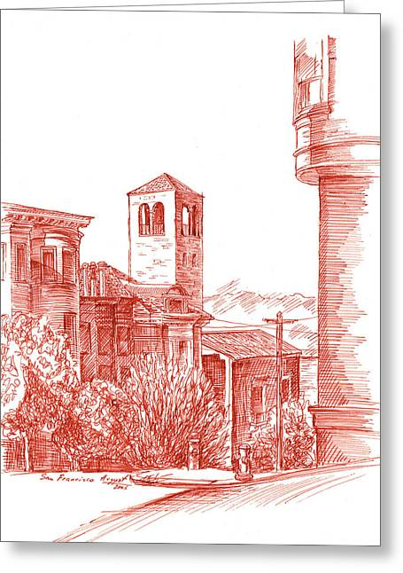 Voyage Drawings Greeting Cards - Chestnut Street In San Francisco  Greeting Card by Irina Sztukowski