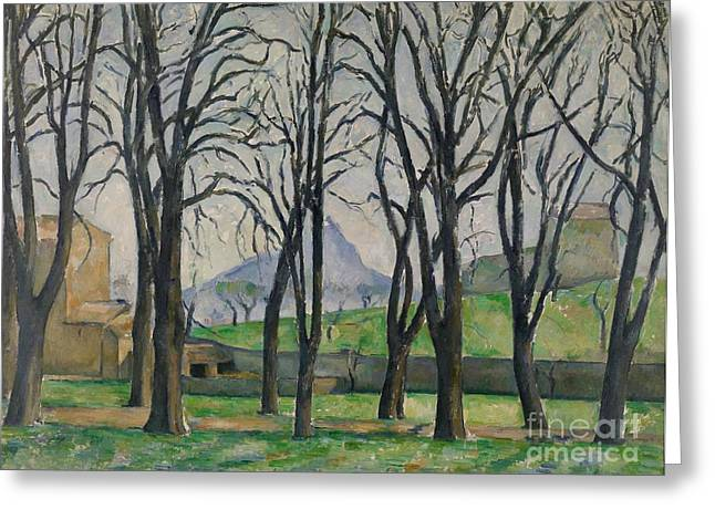 Bare Branches Greeting Cards - Chestnut Trees at Jas de Bouffan Greeting Card by Paul Cezanne