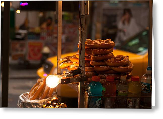 Taxi Stands Greeting Cards - Chestnuts and Pretzels Greeting Card by William  Carson Jr