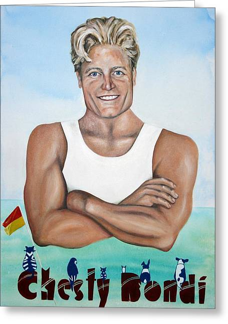 Chesty Bondi - Bondi Vet Greeting Card by Lyndsey Hatchwell