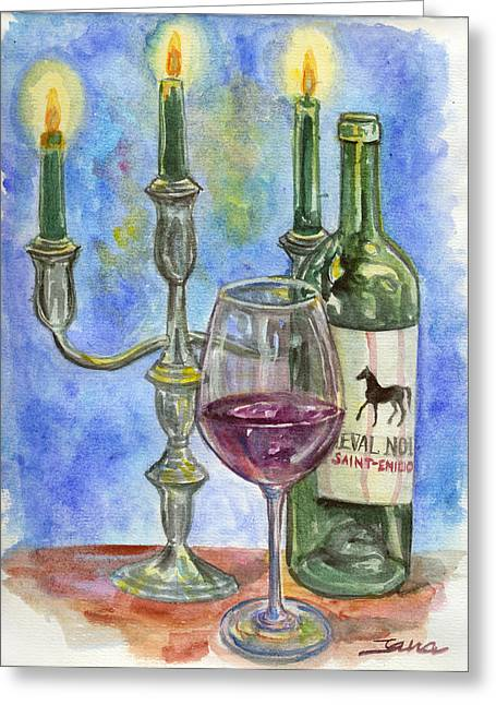 Still Life With Bottle Greeting Cards - Cheval Noir Greeting Card by Jana Goode