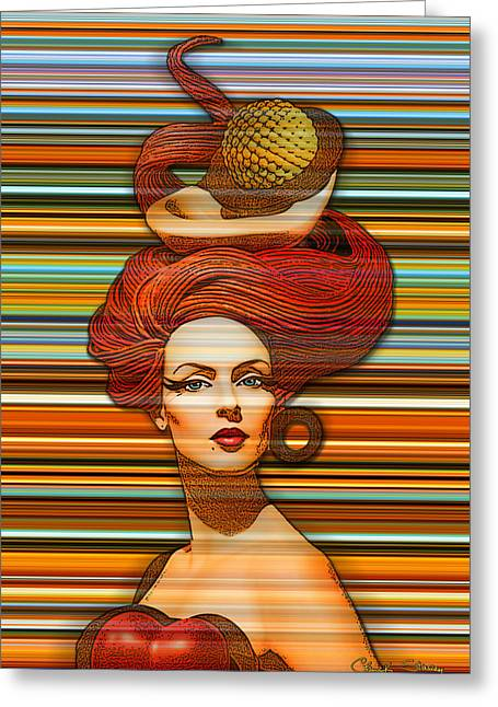 Abstract Digital Photographs Greeting Cards - Cheveux Rouges Extract Greeting Card by Chuck Staley