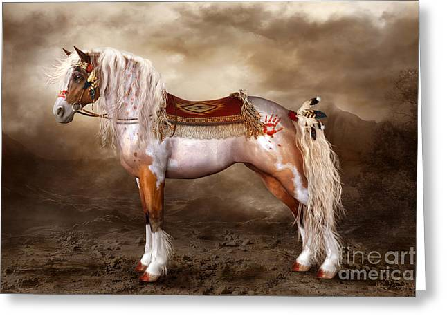 Painted Ponies Greeting Cards - Cheveyo Native American Spirit Horse Greeting Card by Shanina Conway