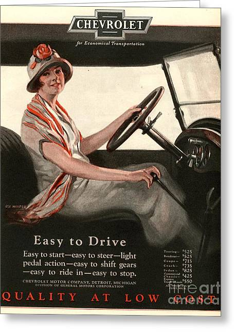 Twentieth Century Greeting Cards - Chevrolet 1920s Usa Women Woman Drivers Greeting Card by The Advertising Archives