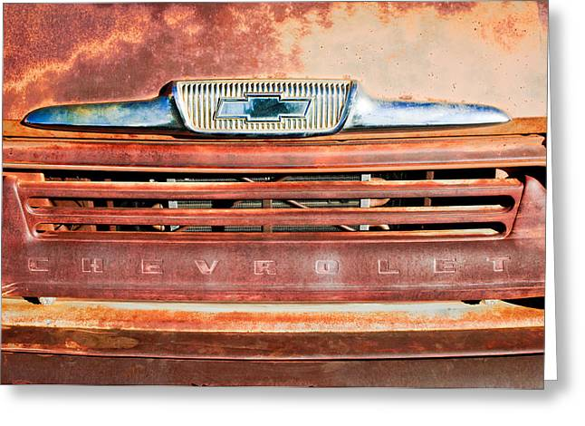 Chevrolet Pickup Truck Greeting Cards - Chevrolet 31 Apache Pickup Truck Grille Emblem Greeting Card by Jill Reger