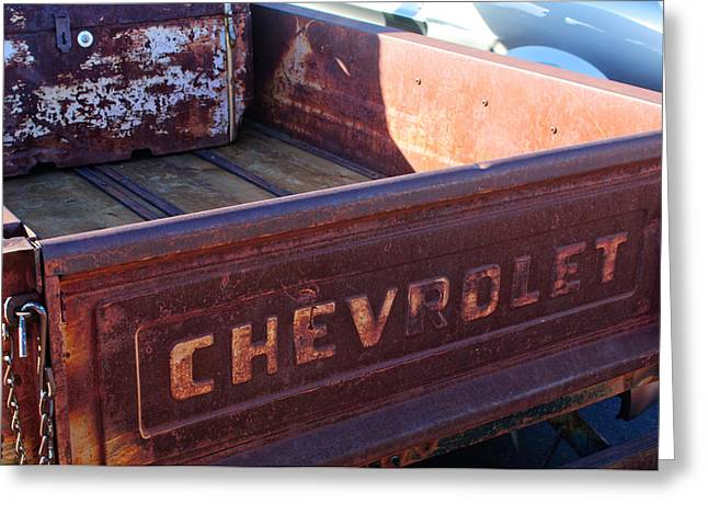 Chevrolet Pickup Truck Greeting Cards - Chevrolet Apache 31 Pickup Truck Tail Gate Emblem Greeting Card by Jill Reger