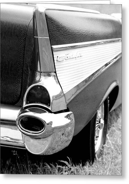1960 Greeting Cards - Chevrolet Bel Air Fin 1957 Greeting Card by David M Davis