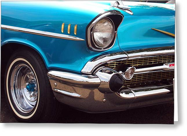 Mopar Collector Greeting Cards - Chevrolet Bel Air in Blue and Gold - American Muscle Greeting Card by Amy McDaniel