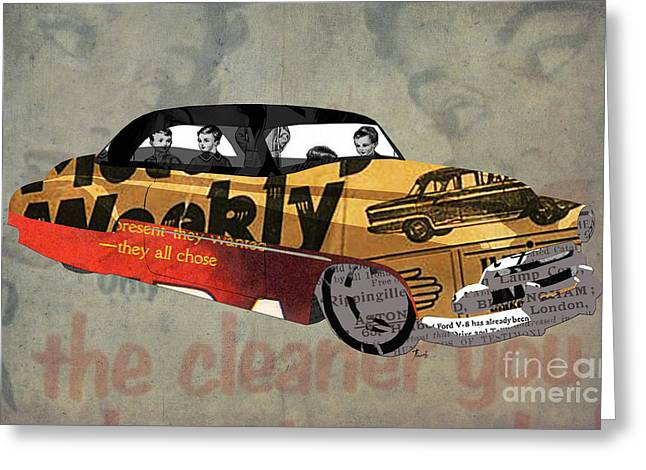 Newspaper Collage Greeting Cards - Chevrolet Belair 1951 and the weekly news Greeting Card by Pablo Franchi
