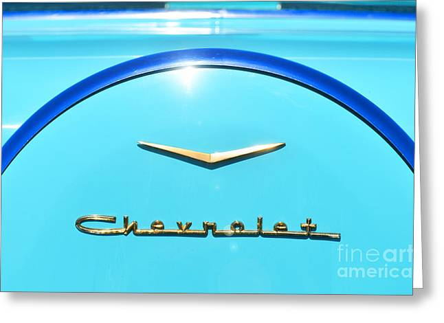 Chevrolet Trunk Greeting Cards - Blue Chevrolet BelAir Car art print Greeting Card by ArtyZen Studios - ArtyZen Home