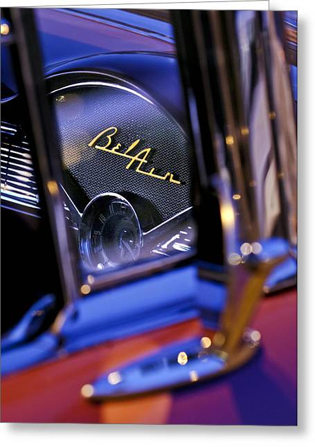 Dash Greeting Cards - Chevrolet Belair Dash Board Emblem -754c Greeting Card by Jill Reger