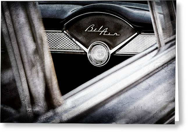 Dashboard Greeting Cards - Chevrolet Belair Dashboard Emblem Clock Greeting Card by Jill Reger