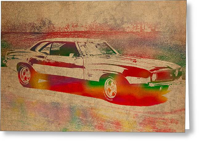 Auto-portrait Greeting Cards - Chevrolet Camaro Watercolor Portrait on Worn Distressed Canvas Greeting Card by Design Turnpike