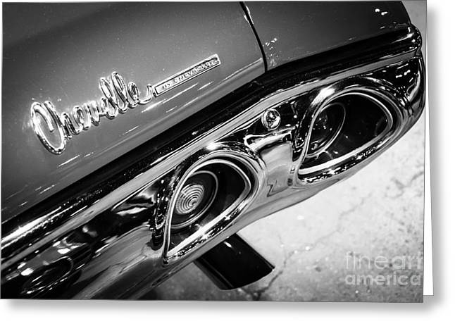 American Automobiles Greeting Cards - Chevrolet Chevelle Emblem Black and White Picture Greeting Card by Paul Velgos