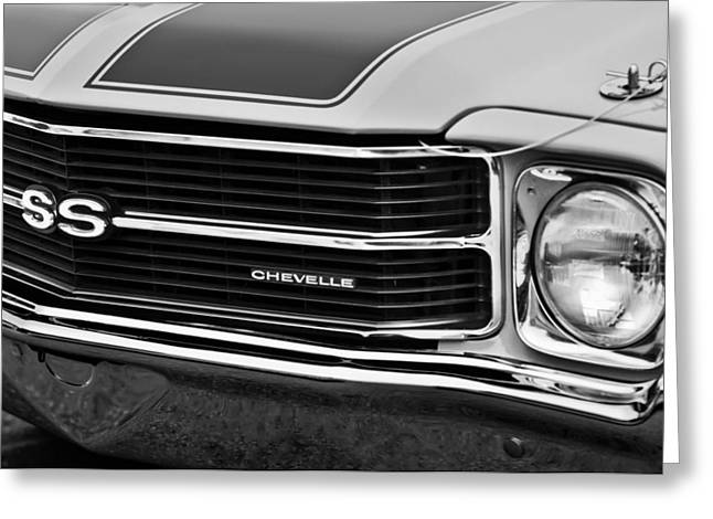 Chevrolet Chevelle Greeting Cards - Chevrolet Chevelle SS Grille Emblem -1597bw Greeting Card by Jill Reger