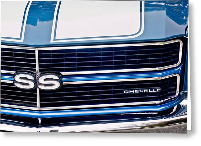 Car Photographer Greeting Cards - Chevrolet Chevelle SS Grille Emblem 2 Greeting Card by Jill Reger