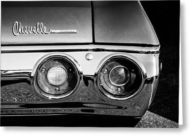 Chevrolet Chevelle Greeting Cards - Chevrolet Chevelle SS Taillight Emblem -0154bw Greeting Card by Jill Reger