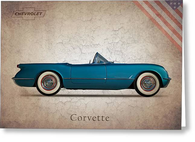 Chevrolet Photographs Greeting Cards - Chevrolet Corvette 1954 Greeting Card by Mark Rogan