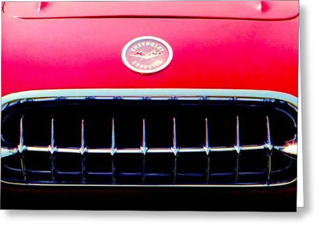 1960 Greeting Cards - Chevrolet Corvette 1958 Grill Greeting Card by David M Davis