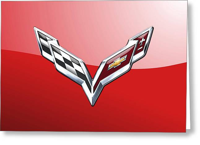 Red Chevrolet Greeting Cards - Chevrolet Corvette 3D Badge-Logo on Red Greeting Card by Serge Averbukh