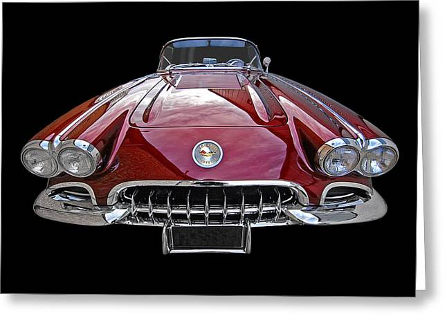Chevrolet Corvette C1 1958 Head On Greeting Card by Gill Billington
