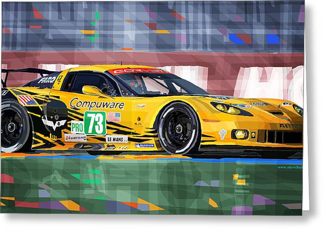 Men Mixed Media Greeting Cards - Chevrolet Corvette C6R GTE Pro Le Mans 24 2012 Greeting Card by Yuriy  Shevchuk