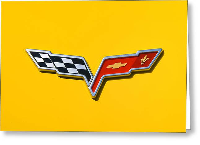 Aotearoa Greeting Cards - Chevrolet Corvette Flags Greeting Card by Phil