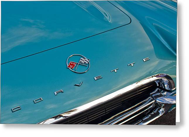 Famous Photographer Greeting Cards - Chevrolet Corvette Hood Emblem 2 Greeting Card by Jill Reger