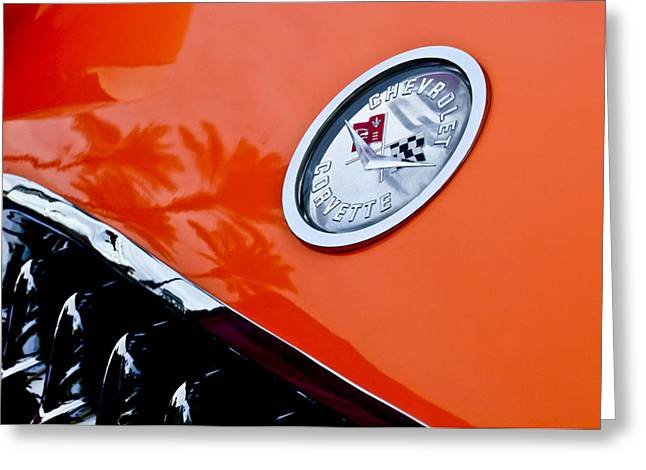 Famous Photographers Greeting Cards - Chevrolet Corvette Hood Emblem Greeting Card by Jill Reger