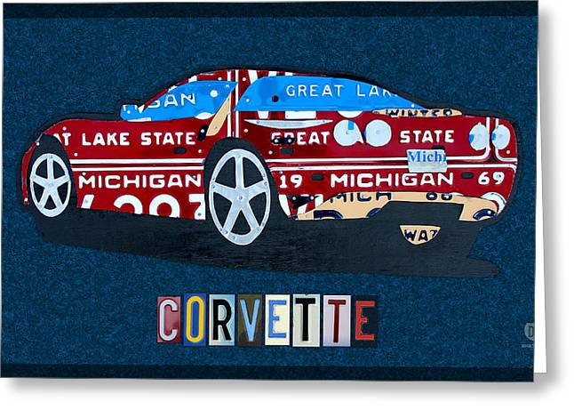 Industrial Mixed Media Greeting Cards - Chevrolet Corvette Recycled Michigan License Plate Art Greeting Card by Design Turnpike