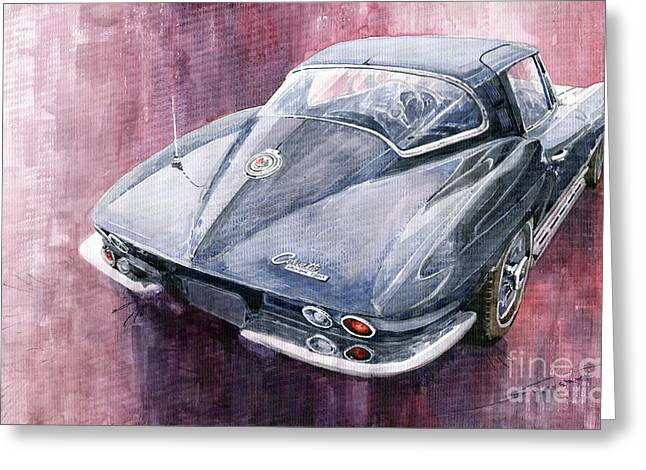 Cars Greeting Cards - Chevrolet Corvette Sting Ray 1965 Greeting Card by Yuriy  Shevchuk