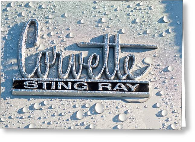 Stinging Greeting Cards - 1966 Chevrolet Corvette Sting Ray Emblem -0052c Greeting Card by Jill Reger