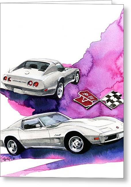 3rd Greeting Cards - Chevrolet Corvette Greeting Card by Yoshiharu Miyakawa