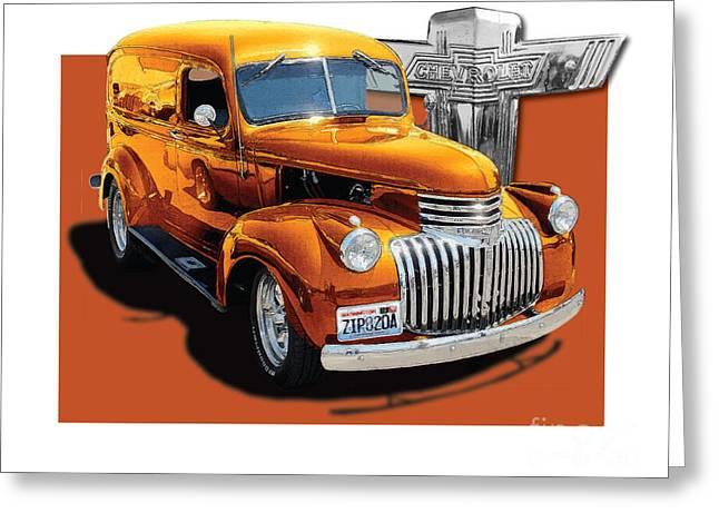 Bowtie Digital Greeting Cards - Chevrolet Custom Panel Truck 1946 Greeting Card by Dan Knowler