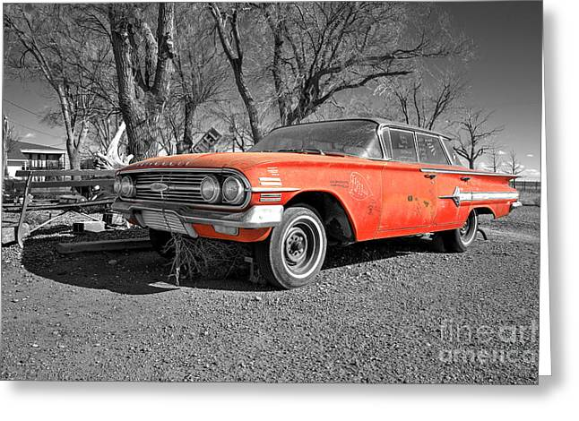 Unrestored Greeting Cards - Chevrolet Impala  Greeting Card by Rob Hawkins