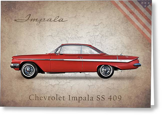 Ss Greeting Cards - Chevrolet Impala SS 409 Greeting Card by Mark Rogan