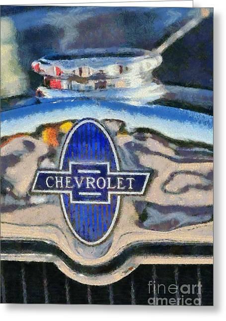Vintage Hood Ornament Paintings Greeting Cards - 1929 Chevrolet International 2AC Greeting Card by George Atsametakis