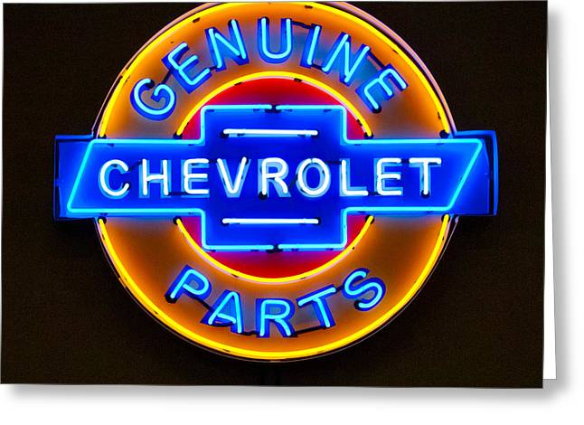 Signed Photographs Greeting Cards - Chevrolet Neon Sign Greeting Card by Jill Reger