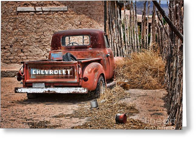 Fence Pole Greeting Cards - Chevrolet Pickup Greeting Card by Nikolyn McDonald