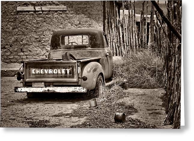 Fence Pole Greeting Cards - Chevrolet Pickup - Sepia Greeting Card by Nikolyn McDonald
