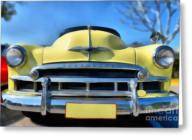 Car Mascot Paintings Greeting Cards - 1951 Chevrolet Skyline Greeting Card by George Atsametakis