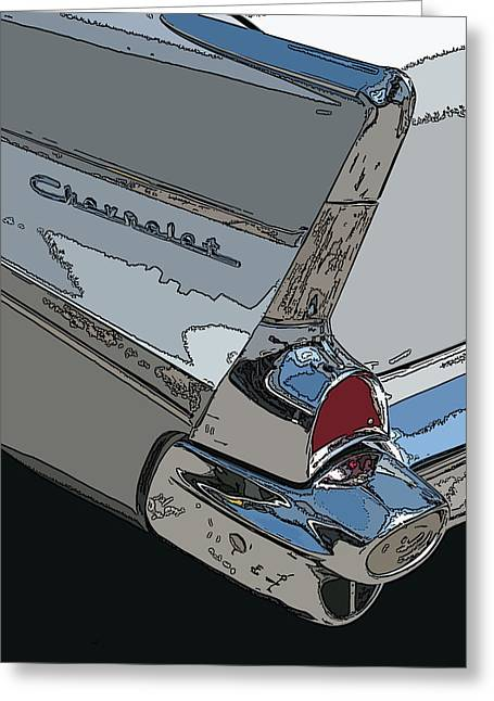 Chevrolet Tail Fin Greeting Card by Samuel Sheats