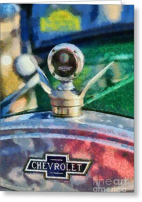 Vintage Hood Ornament Paintings Greeting Cards - 1926 Chevrolet Tourer Greeting Card by George Atsametakis