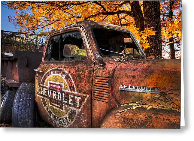 Rusted Cars Greeting Cards - Chevrolet USA Greeting Card by Debra and Dave Vanderlaan